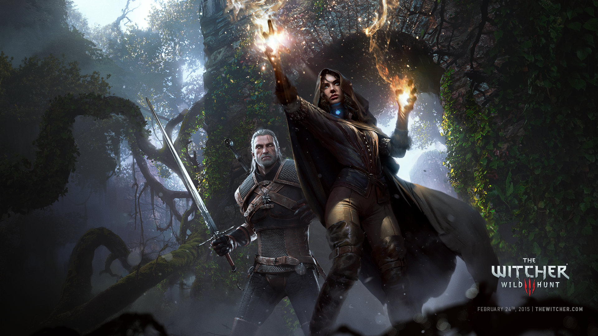 Geralt gleda Yennefer straga 1920x1080